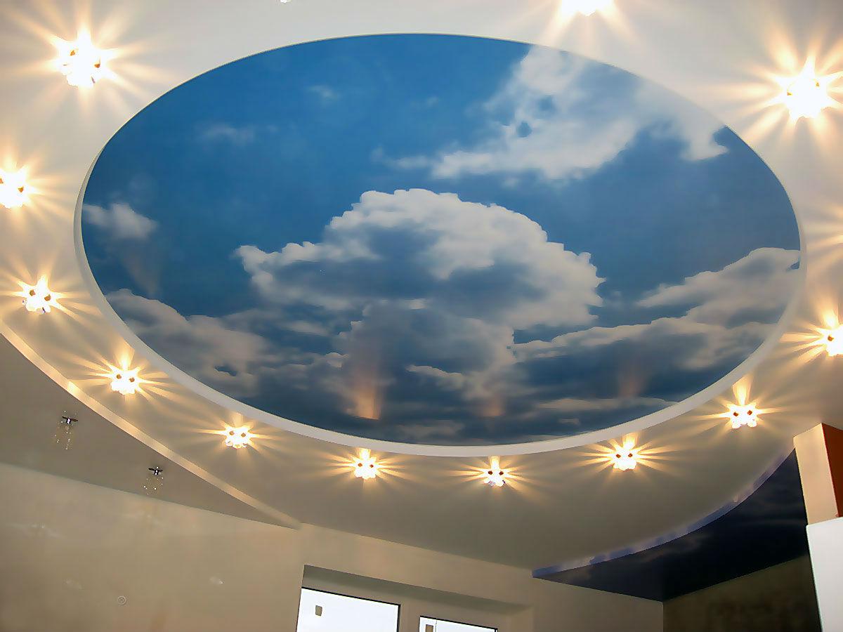 Натяжной потолок небо с облаками фото в интерьере детской