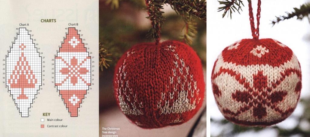 Вязаные шары на елку схема