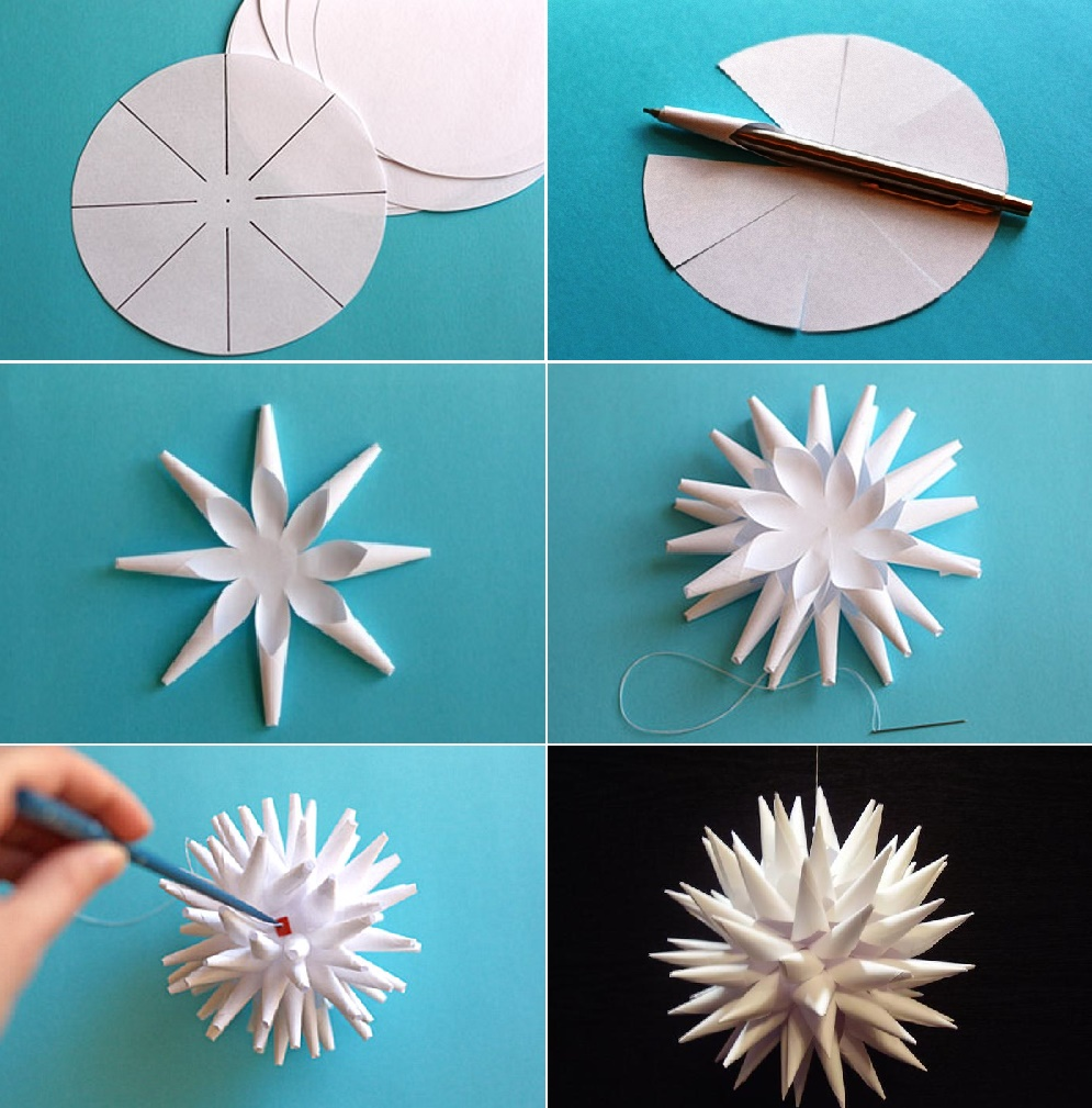 Объемный остроконечный шар из бумаги своими руками