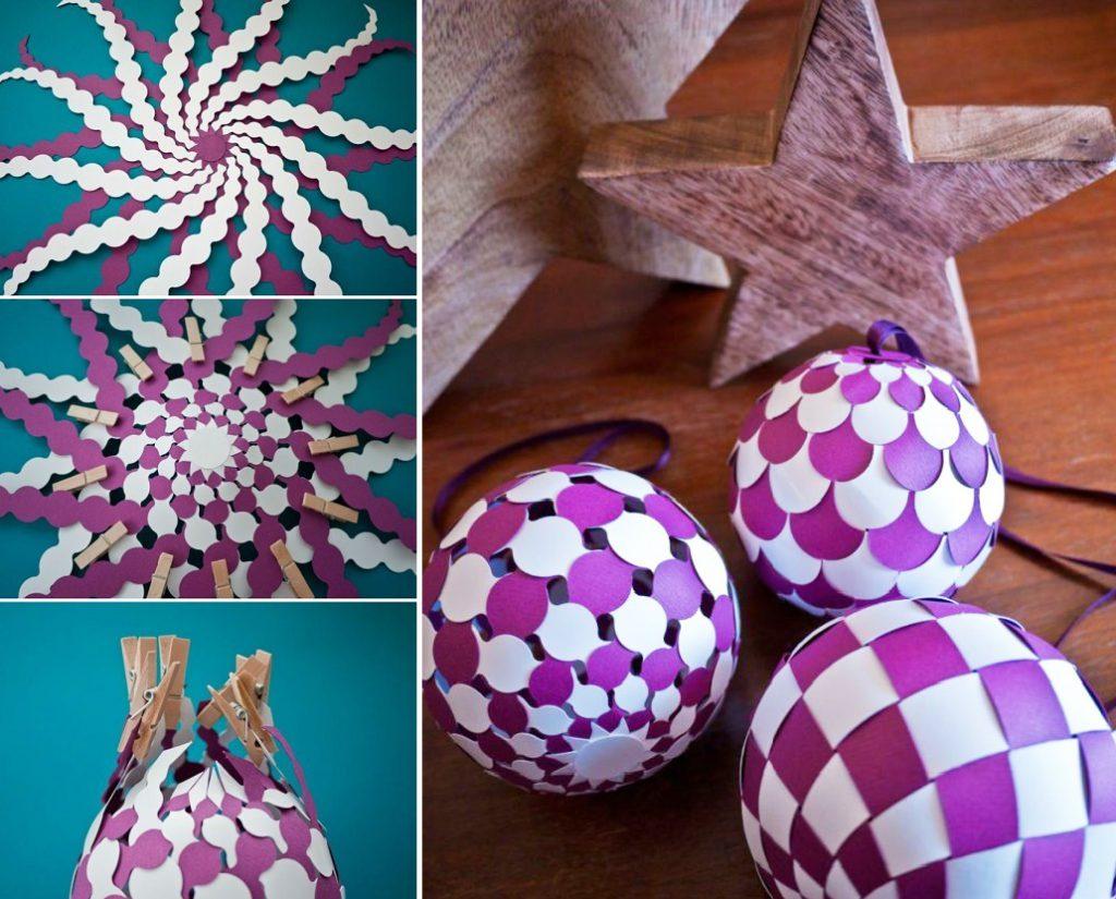 Новогодний шар из цветной бумаги