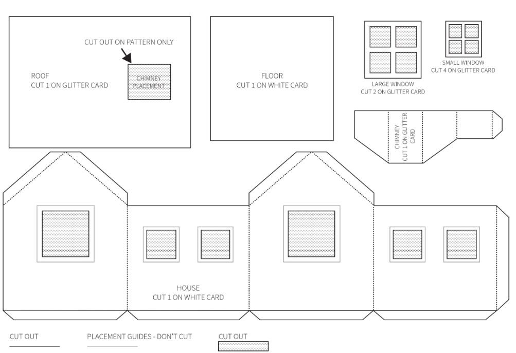 Шаблон для изготовления домика из бумаги