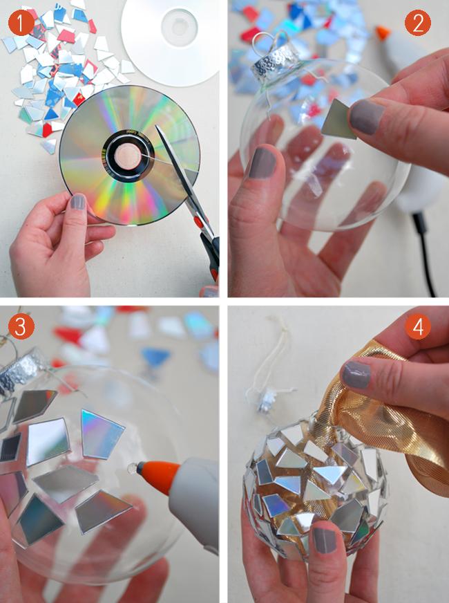 Новогодний шар на елку из дисков