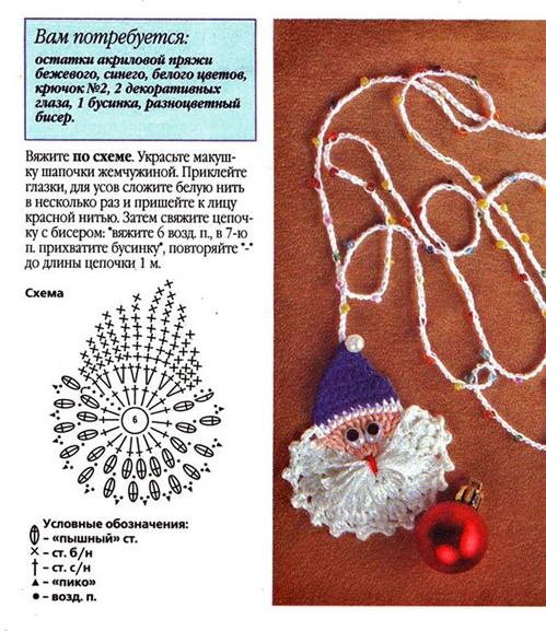 Новогоднее украшение крючком схема и описание