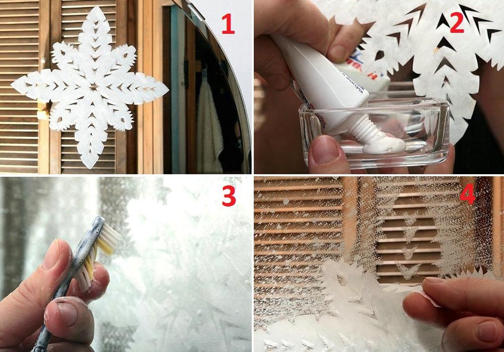 Снежинки на окна с помощью зубной пасты