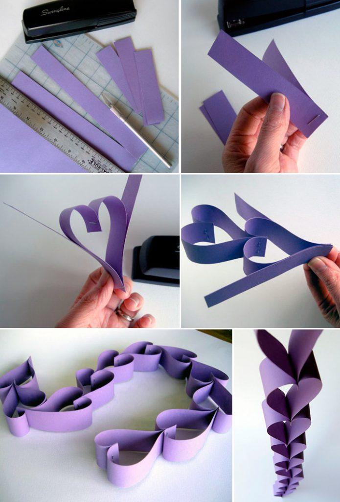 Гирлянда из бумажных сердечек
