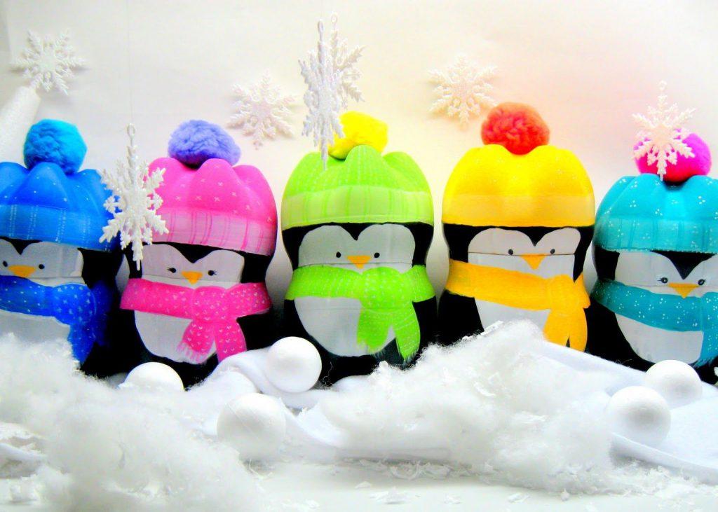 Пингвинчики из пластиковых бутылок своими руками