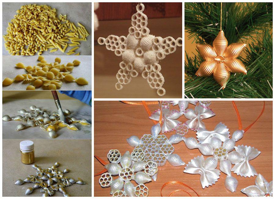 Новогодние украшения на елку из макарон
