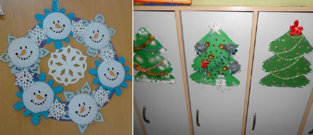 Как украсить шкафчики в группе на Новый год