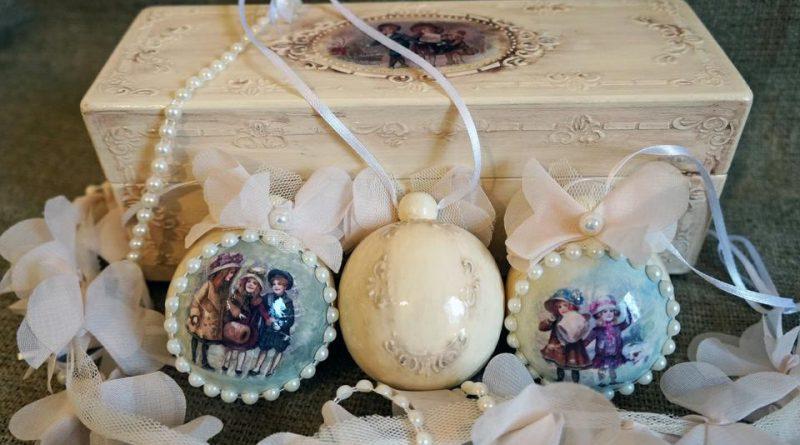 Елочные шары в прованском стиле
