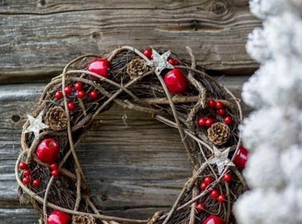 Рождественский венок в стиле рустик