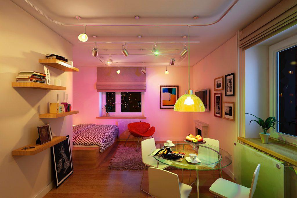Освещение в квартире-студии