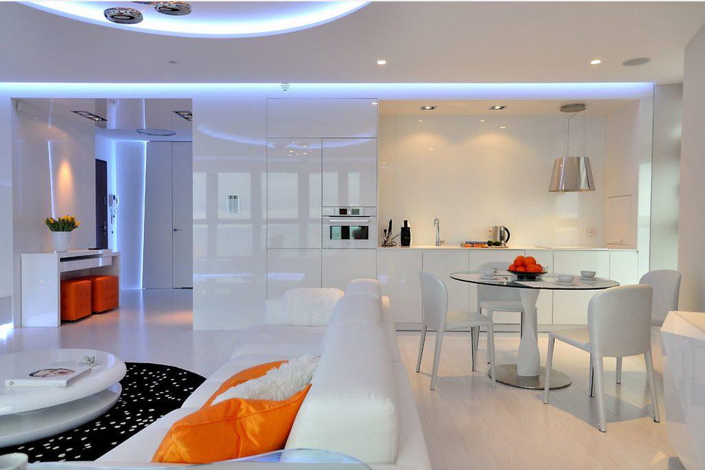 Светодиодная подсветка в кухне-гостиной