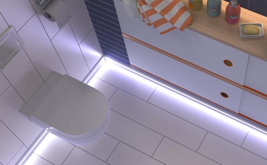 светодиодная подсветка пола в ванной