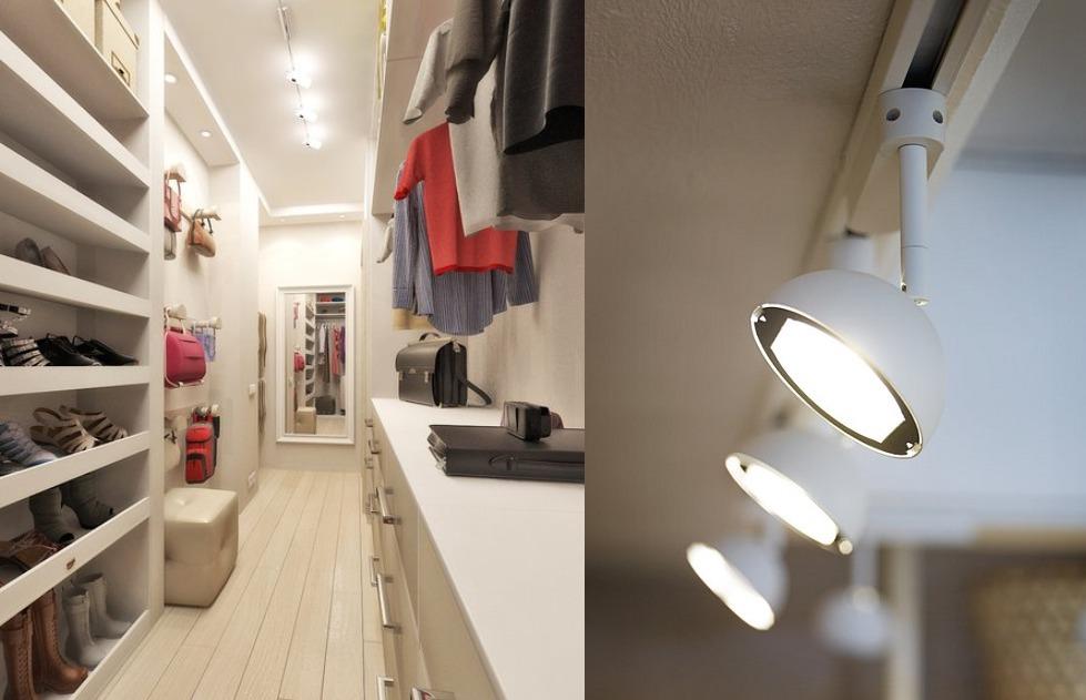 точечная подсветка в гардеробной