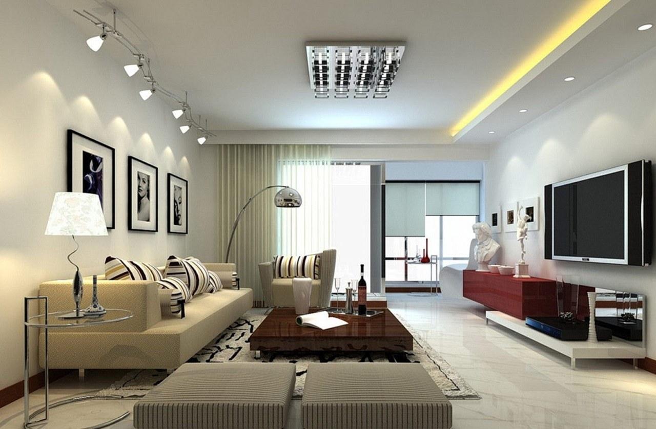 Дизайн интерьера гостиной в современном стиле потолок