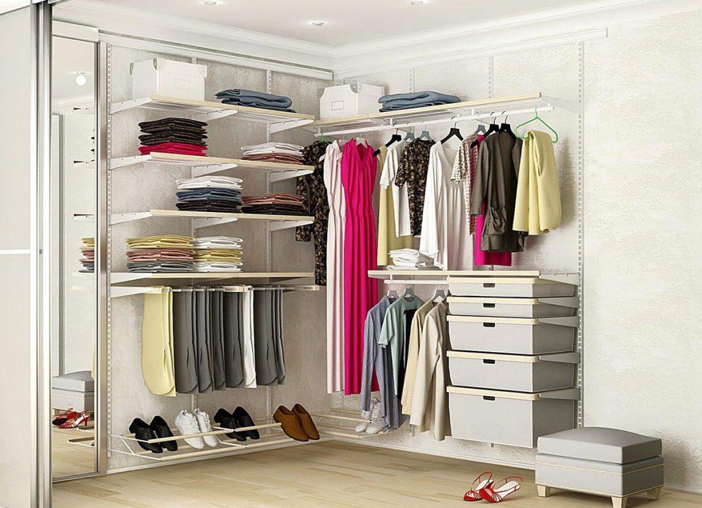 Открытая угловая гардеробная