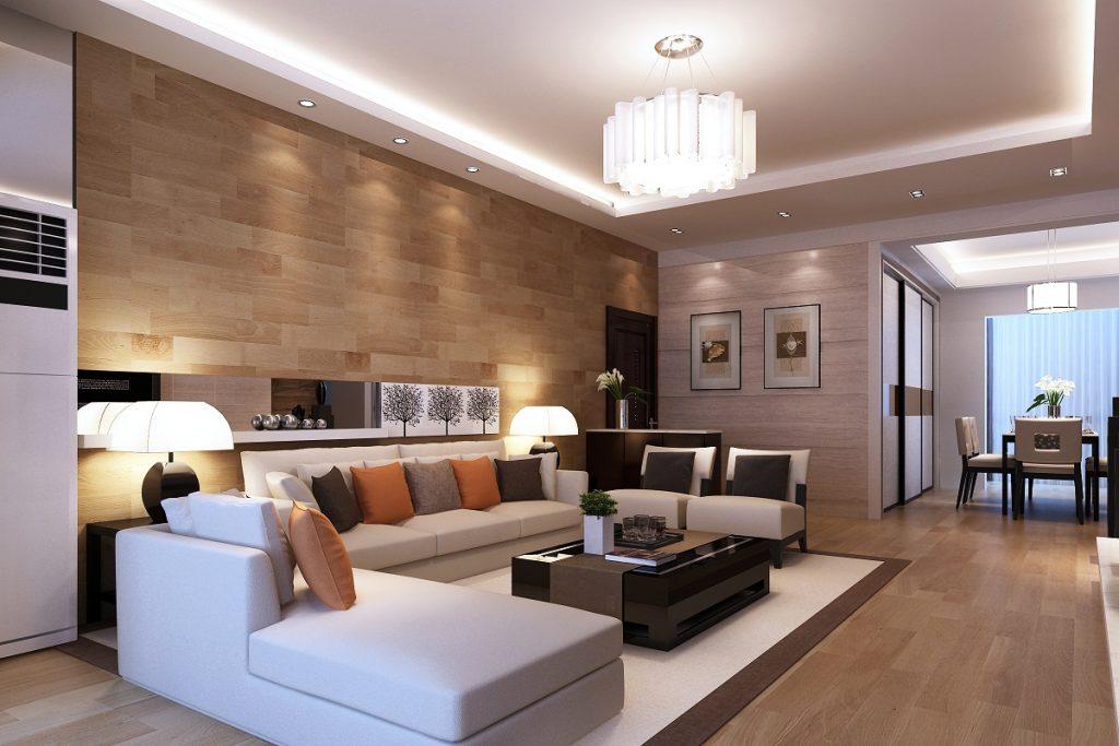 Общее освещение в интерьере гостиной