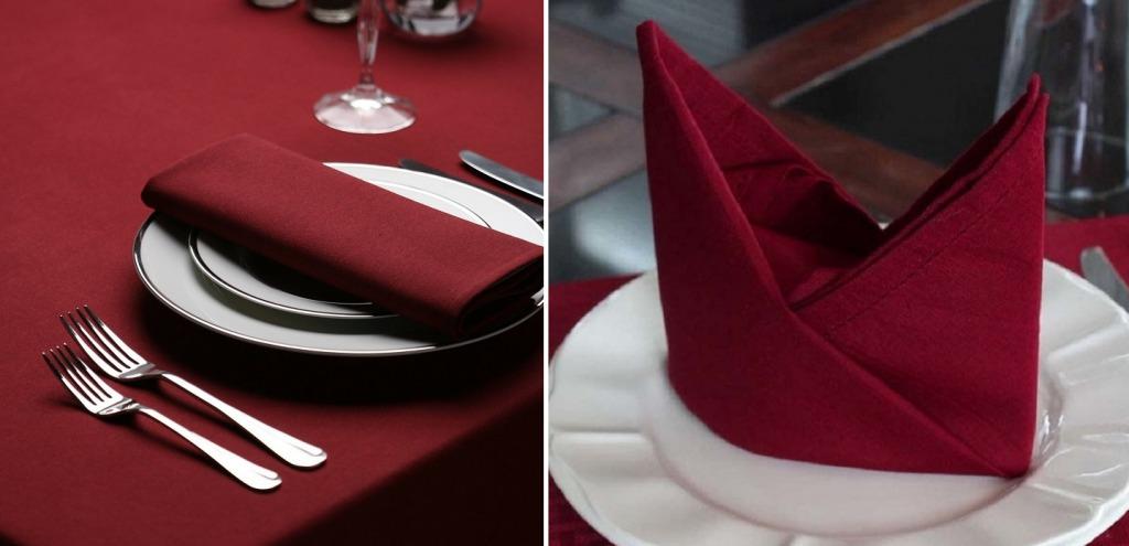 Сервировка стола в бордовом цвете