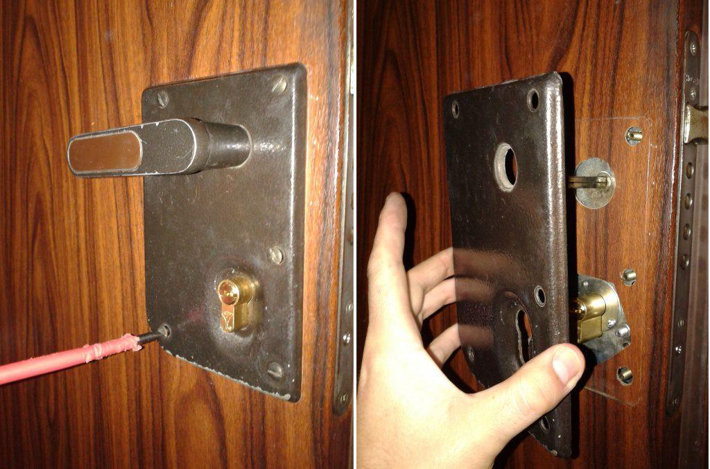 Демонтаж замка в деревянной двери