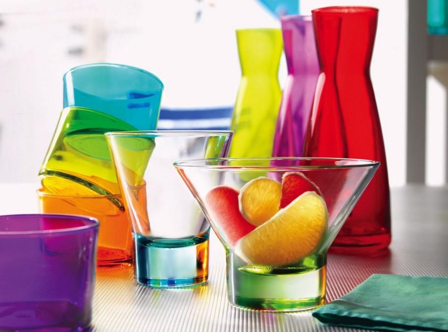 Цветная посуда из стекла