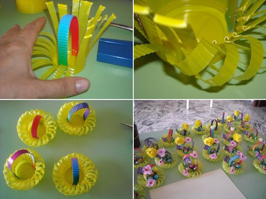 Гнезда-корзинки из пластиковых стаканчиков