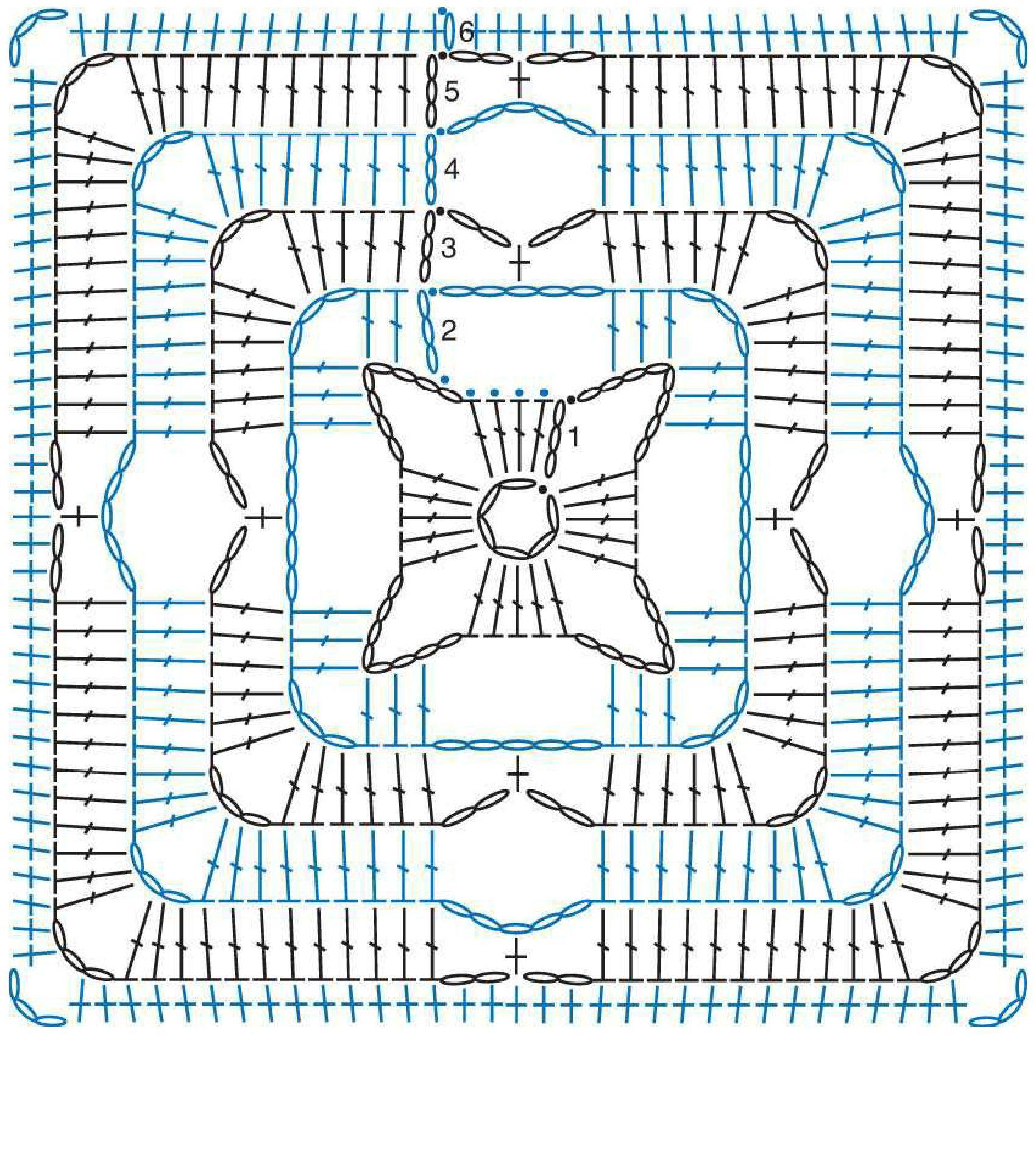 Вязание крючком узоры из квадратов из