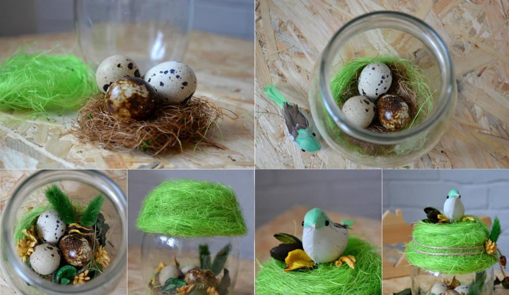 Гнездо в банке на пасху своими руками