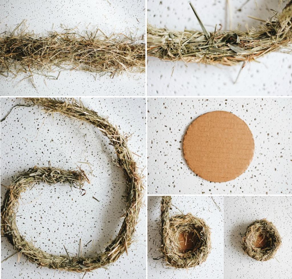 Птичье гнездо из сена и травы своими руками