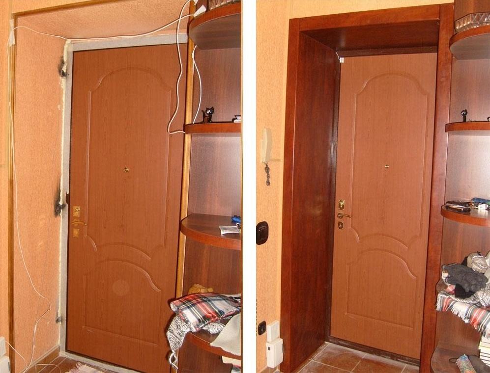 Отделка откосов входной двери мдф панелями