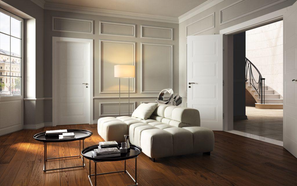 Белые двери в интерьере гостиной