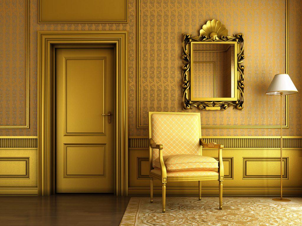 Золотая дверь в интерьере
