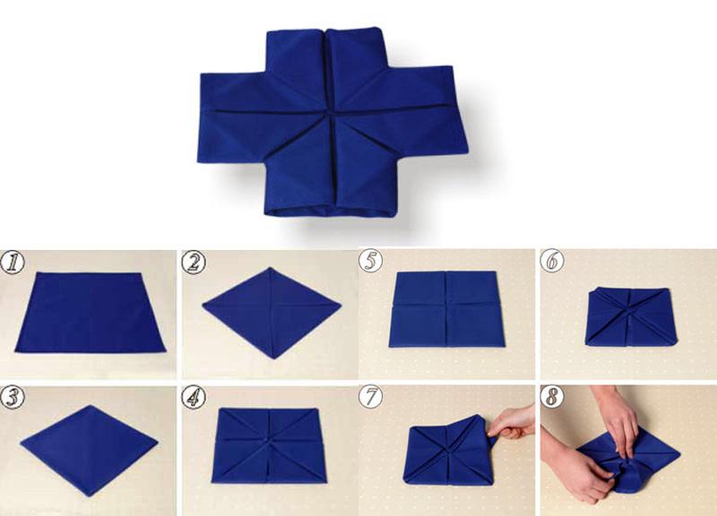 Как сложить салфетку южным крестом