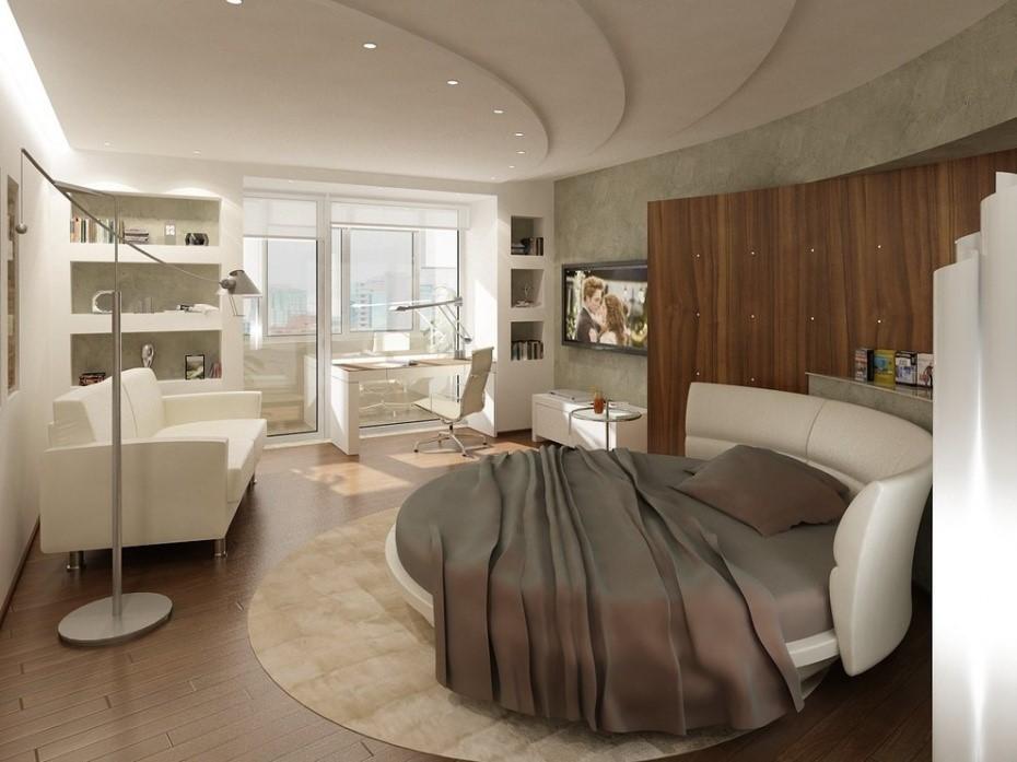 Круглый ковер в интерьере спальни