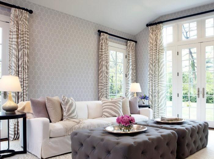 Интерьер зала с серыми обоями. Подбираем идеальные шторы под серые обои и интерьер в целом