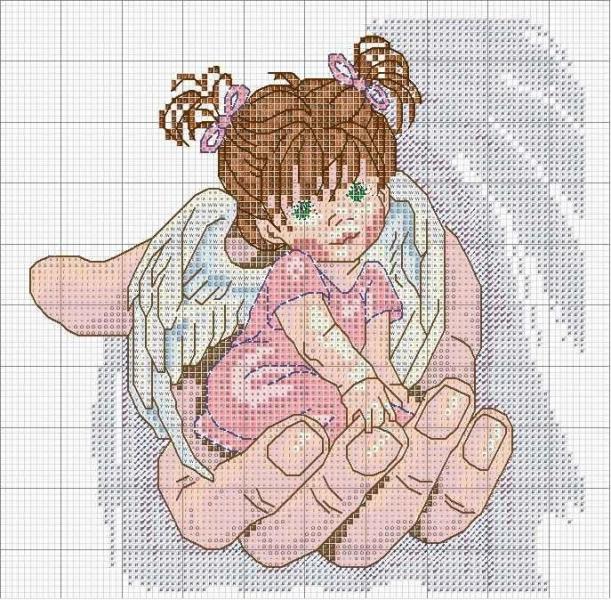 Вышивка крестом молитва ангелов 726