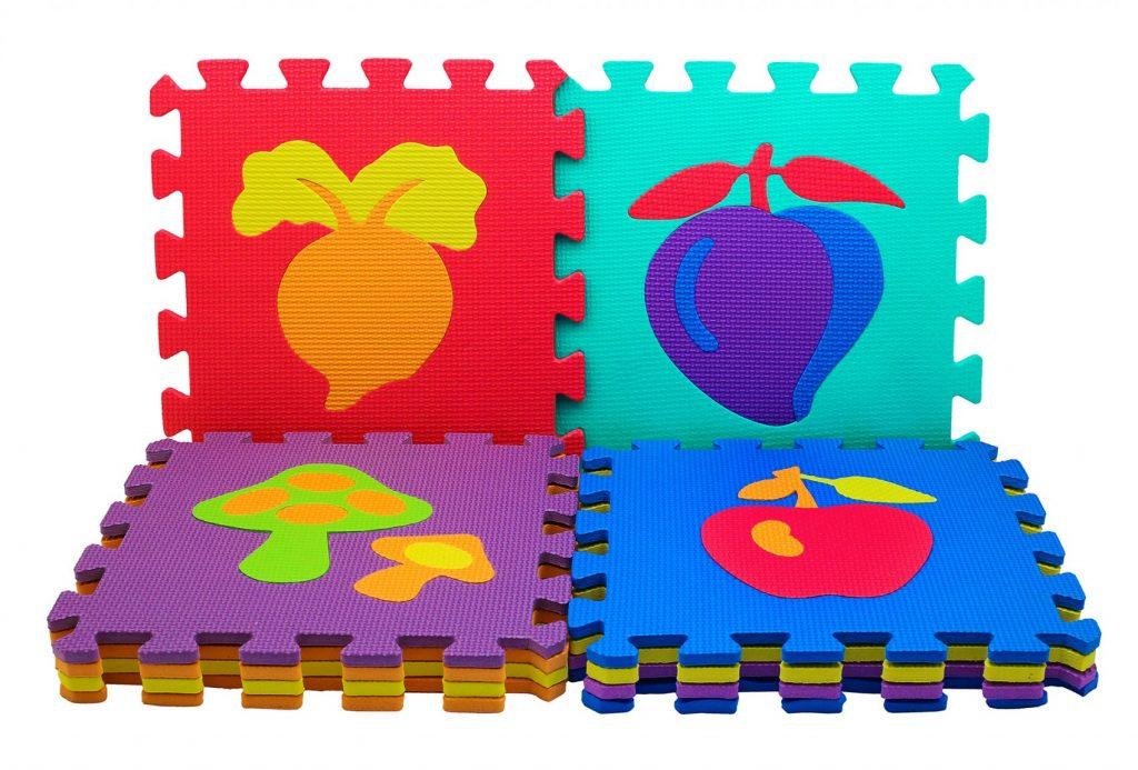 Коврик из пазлов с фруктами и овощами