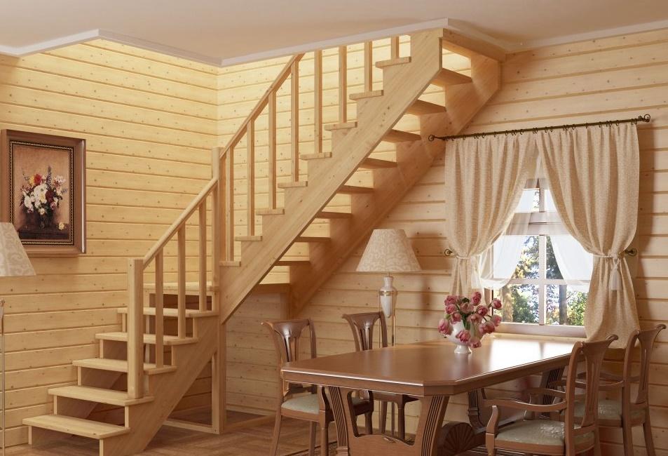 Угловая лестница из дерева на второй этаж