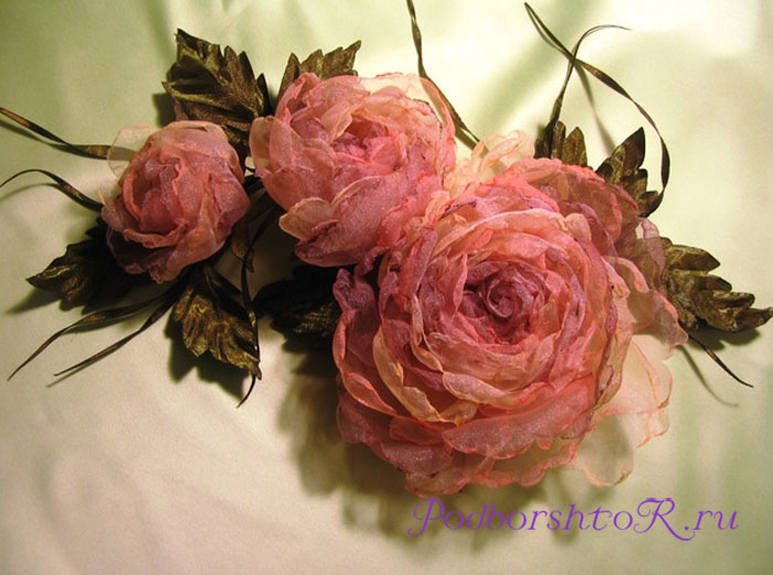 Цветы получили цветы из ткани шебби шик джилиан или
