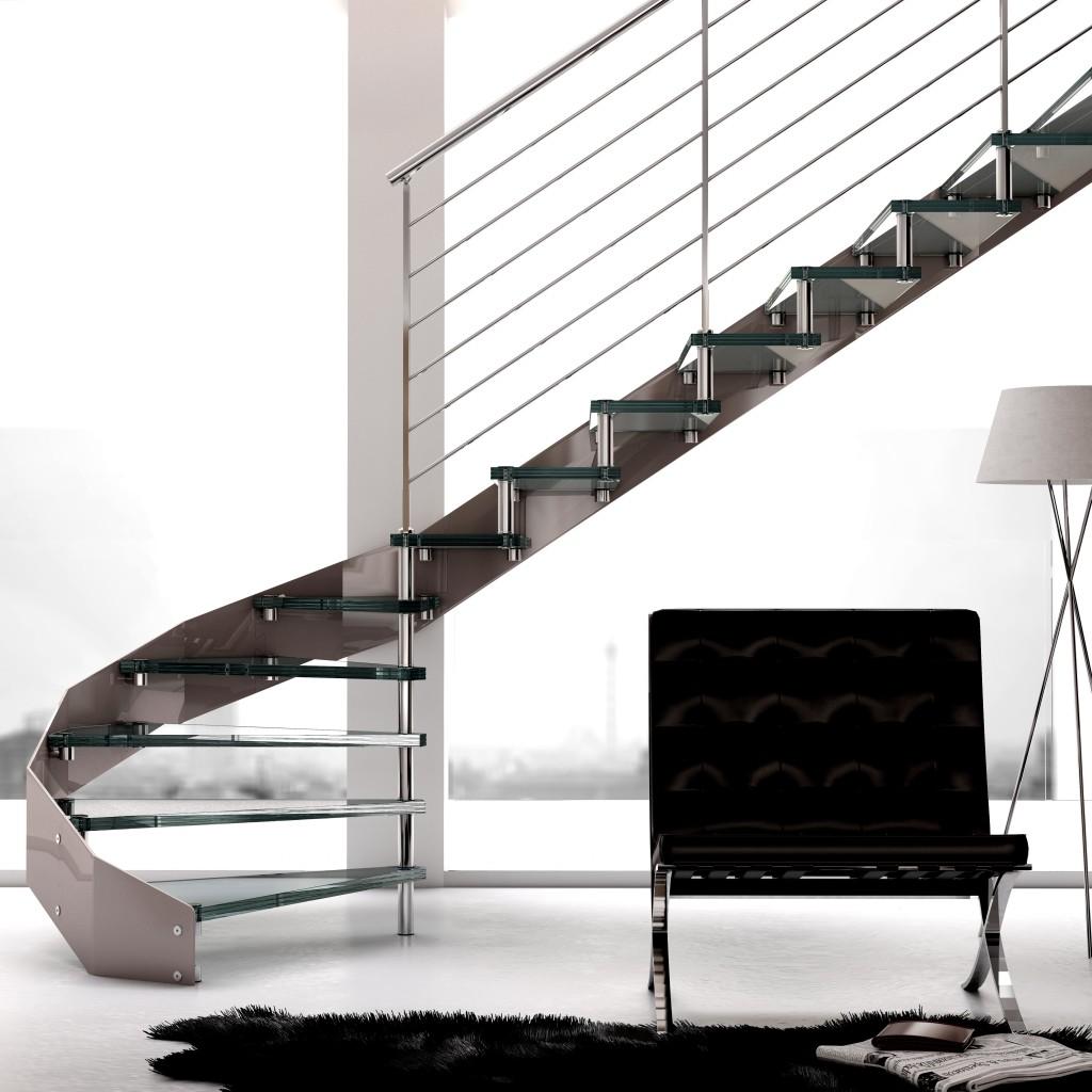 Красивая лестница в стиле хай тек