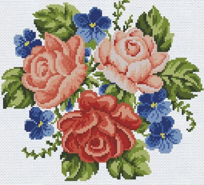 Вышивка крестом цветы  нитки и картинки 7cd2e2b3b027a
