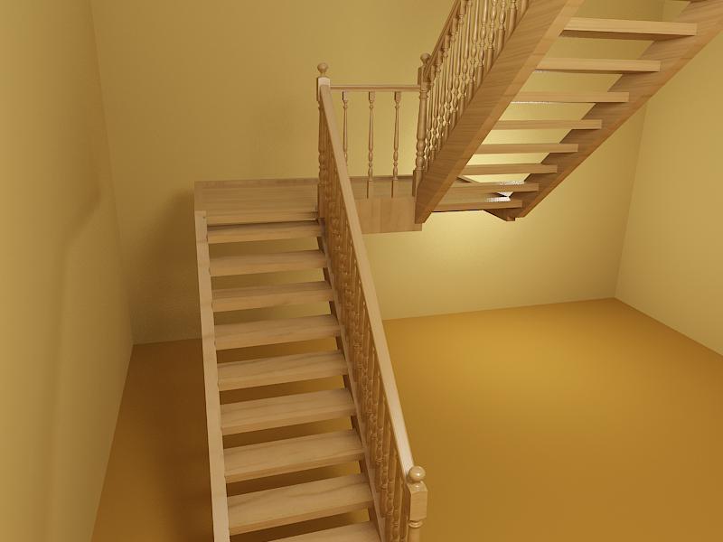 Открытая двухмаршевая лестница с площадкой