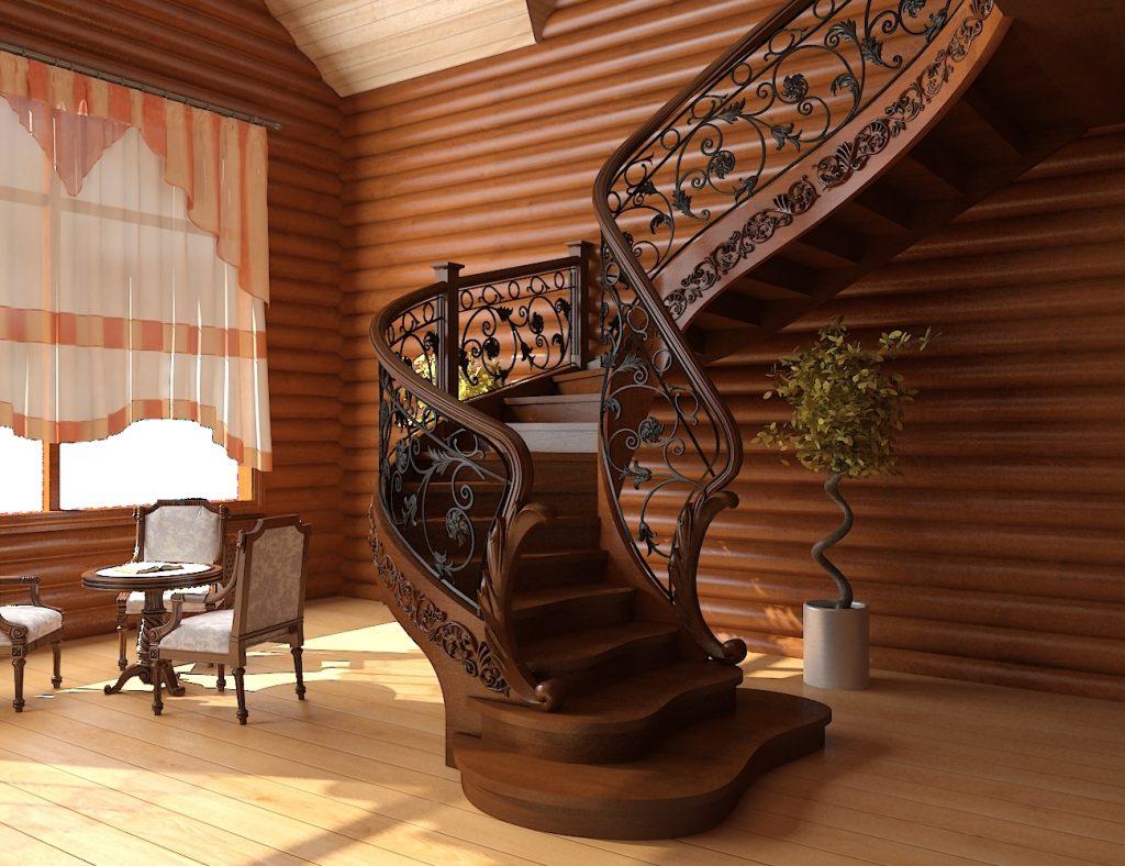 Красивая винтовая лестница для частного дома