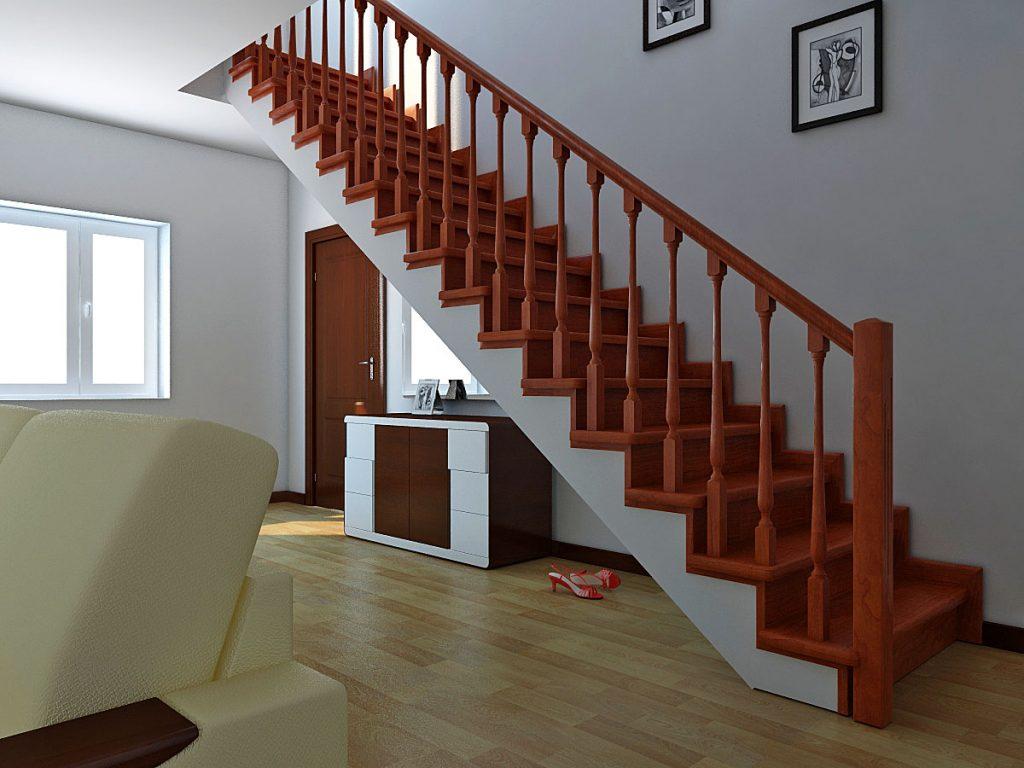 Прямая лестница в интерьере