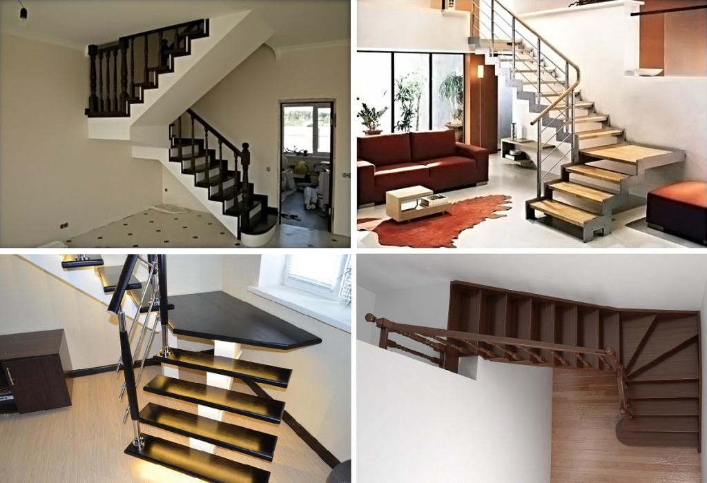 Варианты двухмаршевых лестниц
