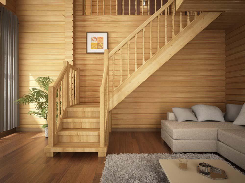 Деревянная двухмаршевая лестница на второй этаж