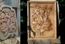 Резные панно из дерева: фото резного декора, картины из дерева Индонезия, резное панно своими руками для бани, деревянные на стену, видео 59