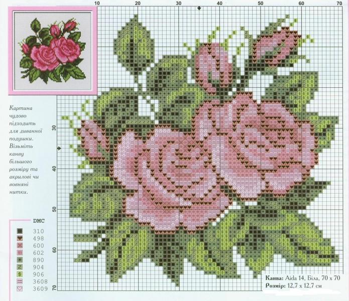 Вышивка чайные розы схема 66