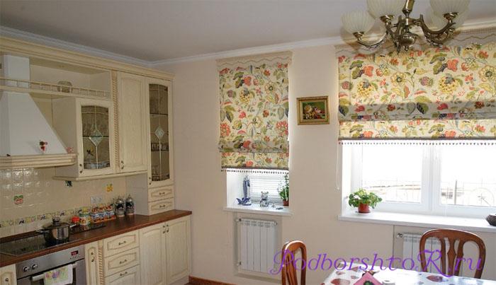 римские шторы для кухни красиво и практично