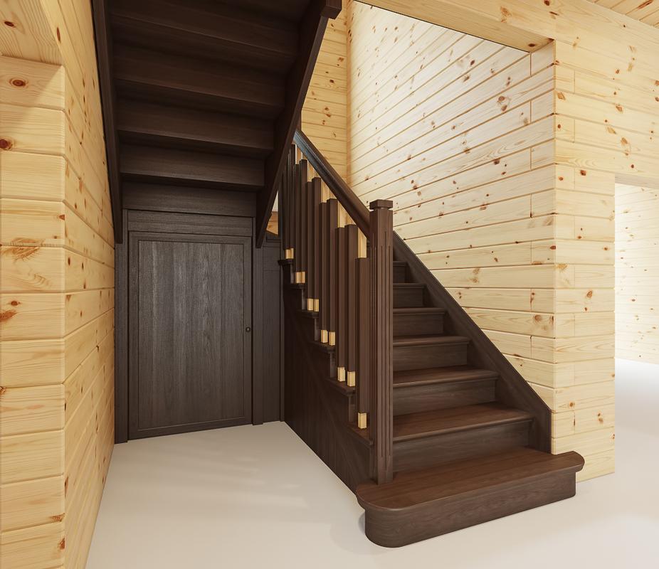 Закрытая двухмаршевая лестница с площадкой