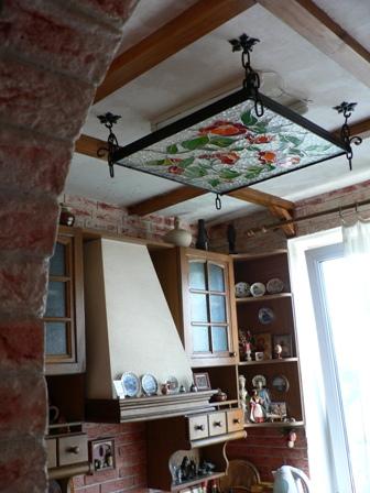 Делаем витражный кованный светильник на кухню своими руками в фото